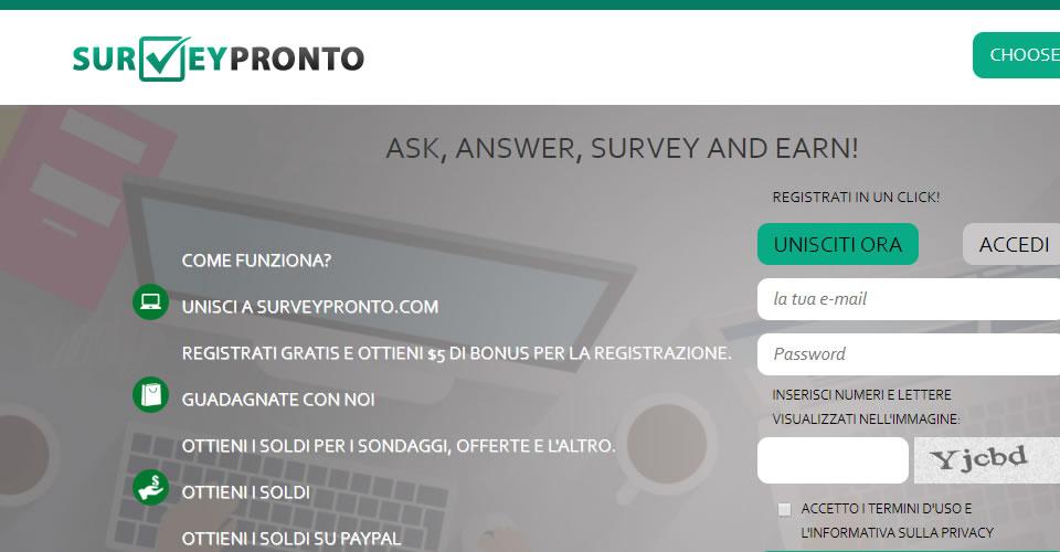Guadagnare con i sondaggi pagati di Surveypronto